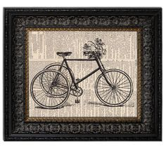 BICYCLE & FLOWER BASKET Dictionary Art Print