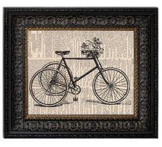 BICYCLE & FLOWER BASKET Dictionary Art Print