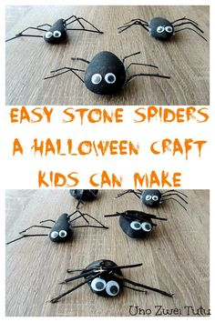 Easy stone spiders kids can make. This is a simple halloween craft that toddlers…