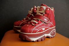 BUFFALO Original Platform red Club Kid sneakers vintage 90's Techno SPICE Girls. $137.00, via Etsy.