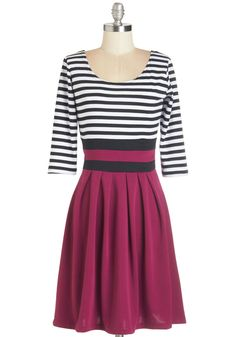 Literary Luncheon Dress in Berry. Discuss your latest read with your trusty band of literature connoisseurs while sporting this black-and-white striped dress! #pink #modcloth