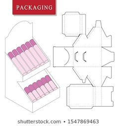 Immagine vettoriale stock 1547869463 a tema Package On Package Pop Packaging Cosmetic (royalty free) Paper Folding Crafts, Cardboard Box Crafts, Cardboard Display, Paper Crafts Origami, Instruções Origami, Printable Box, Diy Friendship Bracelets Patterns, Paper Gift Box, Paper Organization