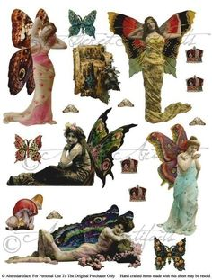 Printable Mystic Fairy Paper Dolls Vintage Fairies Printable Puppet Printable Fairy Wings Digital Co Free Collage, Digital Collage, Collage Art, Collage Ideas, Art Ideas, Paper Dolls, Art Dolls, Collages, Steampunk Fairy