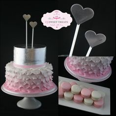 Silver leaf & ruffled petals - by cjsweettreats @ CakesDecor.com - cake decorating website