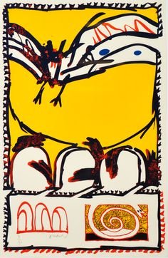 Pierre Alechinsky born the 1927th. Composition, lithographer.
