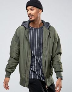 ASOS Bomber Jacket In Oversized Fit With MA1 Pocket With Jersey Hood in Khaki
