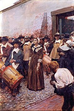 Mary Barrett Dyer (c. 1611 — June 1, 1660) was an English Puritan turned Quaker who was hanged in Boston, Massachusetts Bay Colony for repeatedly defying a Puritan law banning Quakers from the colony. She is one of the four executed Quakers known as the Boston martyrs. (By Howard Pyle)