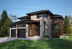 #maison contemporaine, #plan maison # création exclusive E-952-B # design