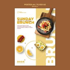 Poster template with brunch theme Food Graphic Design, Food Menu Design, Web Design, Menu Design Templates, Poster Design Layout, Food Poster Design, Event Poster Design, Poster Designs, Restaurant Poster