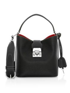 Mark Cross Mini Murphy Leather Bucket Bag In Black Mark Cross, Leather Design, Hand Bags, Pebbled Leather, Luxury Branding, Bucket Bag, Dust Bag, Shoulder Bags, Mini