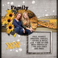 My layout contains a photo of my daughter and granddaughter sitting by a brook in Fall.  For the layout I used October Eve, by Studio4 Designworks http://www.godigitalscrapbooking.com/shop/index.php?main_page=product_dnld_info&cPath=29_164&products_id=28654