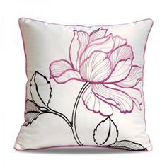 Red flowers embroidered pillows for couch Chinoiserie sofa cushions