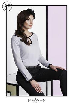 #lookbook #prettyonewarsaw Spring Summer 2015 Dzianinowy sweterek, z lamówką i wykończeniem w łezkę, oczek, ozdoba do włosów, czarne cygaretki. Spring Summer 2015, Vogue, Blouse, Long Sleeve, Sleeves, Women, Fashion, Tunic, Moda
