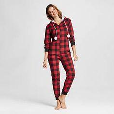 Pajama Drama® Women's Faux Sherpa Hood French Terry Union Suit Pajamas - Buffalo Check : Target