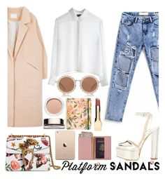 """Platform Sandals"" by tamaramanhardt ❤ liked on Polyvore featuring Ciaté, Gucci, Giuseppe Zanotti, MTWTFSS Weekday, House of Holland, Rifle Paper Co, Clarins and Royce Leather"
