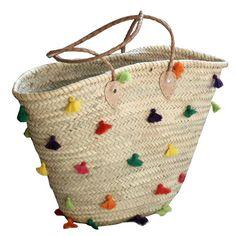 Tragetaschen - Korbtasche bunte Pompoms - ein Designerstück von Manufaktur-Marrakesch bei DaWanda