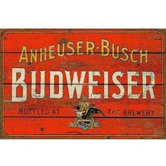 Carteles Antiguos De Chapa Gruesa 20x30cm Budweiser Dr-130 - $ 119 ... Vintage Labels, Vintage Posters, Weathered Paint, Beer Poster, Vintage Metal Signs, Bar Signs, Wooden Signs, Brewery, Decoupage