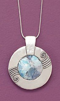 1-1/2 inch (incl bail) Ancient Roman Glass Pendant/Sterling Silver 1mm Snake Chain Necklace,16in Silver Messages. $171.99