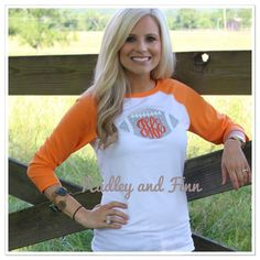Love this for football sundays. Monogrammed Football Tee by hadleyandfinn on Etsy