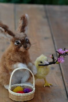 Easter Bunny and chick. Basket bunny. Needle felt  by darialvovsky