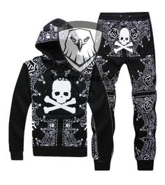men's clothing skull print 100% cotton sports set 100% cotton pullover sweatshirt set long-sleeve set