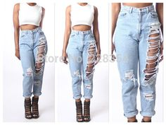 calça cintura alta rasgada 2015 - Pesquisa Google