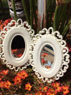 Vintage Pair of Homco/Syroco White Oval Mirrors, Coastal Decor, Beach Decor, Wedding Decor, Nursery Decor