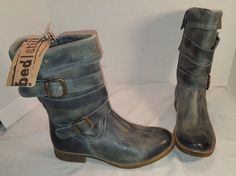 NEW WOMEN'S BED STU LIES GREEN DISTRESSED LEATHER ANKLE BOOTS WESTERN US 7 #BEDSTU #WESTERN