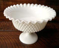 Vintage White Milk Glass Hobnail Compote Pedestal Bowl Ruffle Edge Footed Crimped Bowl