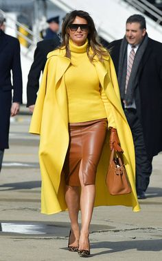 Sunny Smiles from Melania Trump's Best Looks Donald And Melania Trump, First Lady Melania Trump, Look Fashion, Fashion Outfits, Womens Fashion, Yellow Skirt Outfits, Yellow Dress, Milania Trump Style, Look Star