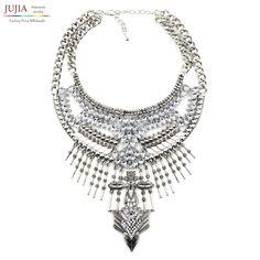 2017 all'ingrosso collane & pendenti dell'annata di cristallo maxi choker dichiarazione femme boho grandi gioielli delle donne di modo