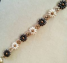 Beaded Sunflowers Bracelet Ivory Brown & Matte Gold by SpinPlanet