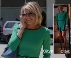 Jane's green dress with navy trim on Happy Endings season 3.  Outfit details: http://wornontv.net/6403/