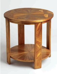 Art Deco two-tiered straw-marquetry side table by André Groult
