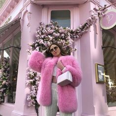 Fox Fur Jacket, Fox Fur Coat, Fur Fashion, Pink Fashion, Petite Fashion, Cute Pink, Pretty In Pink, Fur Coat Outfit, Pink Faux Fur Coat