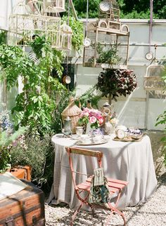 Love the hanging birdcages in an outdoor garden / sitting area with plants
