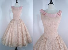 Vintage 50s Dress Party Pink Lace Taffeta / by swingkatsvintage, $65.00