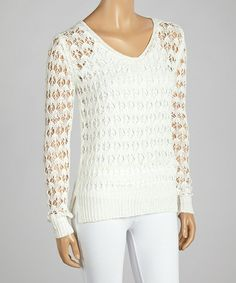 Another great find on #zulily! White Stripe Loose-Knit V-Neck Sweater - Women by High Secret #zulilyfinds