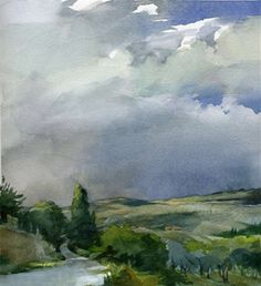 """Pienza Storm Clouds"" watercolor by Stan Miller Watercolor Clouds, Watercolor Trees, Watercolor Artwork, Watercolor Sketch, Watercolor Artists, Watercolor Landscape, Landscape Art, Landscape Paintings, Watercolor Portraits"
