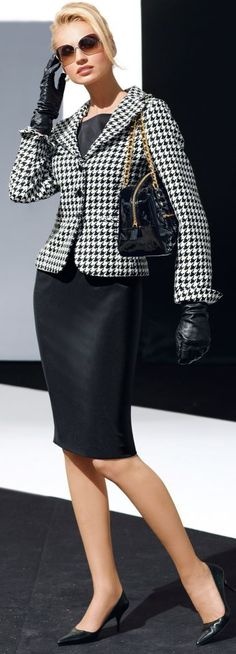 Timeless...houndstooth wool two buttons jacket with a satin wool pencil skirt.