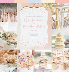 Wedding Inspiration - Watercolor Confetti with hints of coral, blush, and peach.