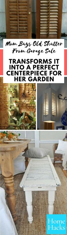 Here are some great DIY ideas & projects to repurpose shutters. Old shutters can become great home decor, garden, or even bedroom pieces. Our personal favorite projects are the DIY shutter headboard and the bathroom wall hanging organizer. What's yours?  #upcycling #diy #projects #homedecor #garden #woodwork #upcycle