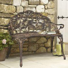 BCP Outdoor Patio Garden Bench Park Yard Furniture Cast Iron Antique Rose Bronze #BestChoiceProducts