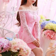 "Japanese sweet bowknot horn sleeve lace dress   Coupon code""cutekawaii"" for 10% off"