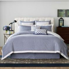 Decorate your bedroom in soft comfort and style with the Soleil duvet cover from Real Simple. This dynamic chambray bedding features jacquard pleated white stripes with clean, simple lines and rich color that will look great with any décor.