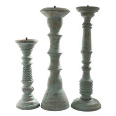 Foreign Affairs Home Decor 3 Piece Safari Lau Wood Candlestick Set