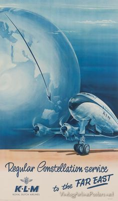 Premium Giclee Print: Regular Constellation Service to Europe - KLM Royal Dutch Airlines - Lockheed by Joop H. Travel Ads, Airline Travel, Air Travel, Vintage Advertisements, Vintage Ads, Vintage Airline, Advertising Ads, Royal Dutch, Main Image