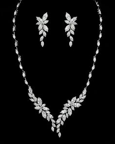Stunning Marquise Cluster CZ Crystal Bridal and Formal Jewelry Set - Affordable Elegance Bridal -