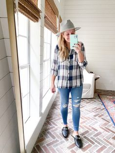 Cute Fall Outfits by popular Houston fashion blog, Fancy Ashley: image of a woman wearing a plaid top, grey felt hat, distressed jeans, and faux fur lined slide mules. October Outfits, Ashley S, Cute Fall Outfits, Distressed Jeans, Your Style, Women Wear, Plaid, Glamour, Fancy
