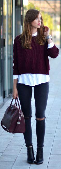 El marsala es perfecto para esta temporada, y en este #outfit, nos encanta cómo se ve. #fashion #trend
